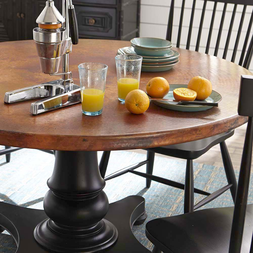 Copper top dining room tables dining couch potato slo furniture in san luis obispo custom geotapseo Gallery