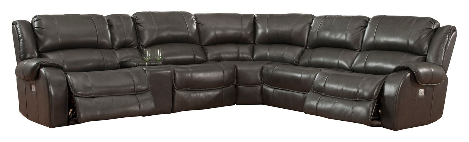 Odyssey Leather Recliner Sectional Image